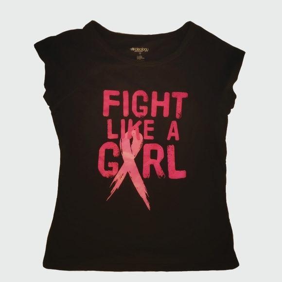 IDEOLOGY Fight Like A Girl Breast Cancer Active Short Sleeve Black T-Shirt Top